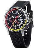 Detomaso DT2017-A - Reloj analógico de cuarzo para hombre con correa de silicona, color negro