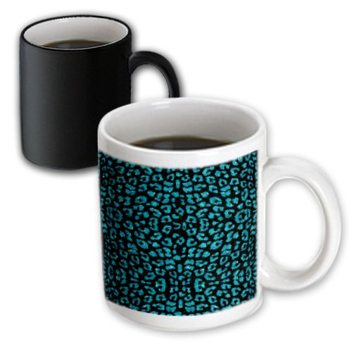 Janna Salak Designs Faux Glitter Designs - Teal And Black Printed Sparkle Leopard Print - 11Oz Magic Transforming Mug (Mug_110721_3)