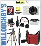 Nikon 1 J1 Camera w/ NIKKOR 10mm f/2.8 VR (White) + NIKKOR 10-30mm f/3.5 – 5.6 VR + Eskuche DJ/Studio Monitor On-Ear Headphone + Lowepro Camera Bag + 3pc Multi-Coated Essential Filter Kit + 32GB SDHC Double Lens Kit