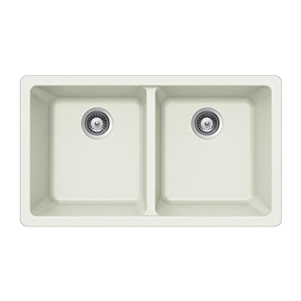 Houzer M-200U CLOUD Quartztone Series Granite Undermount 50/50 Double Bowl Kitchen Sink, White