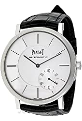 Piaget Altiplano Automatic Silver Dial Black Leather Mens Watch G0A35130
