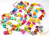 (フリースタイル)free style 紐通し 木製 おもちゃ 大容量 100ピース セット 子供 2歳 3歳 4歳 5歳 育児 知育 出産祝い プレゼント