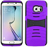 4 Items Combo For Samsung Galaxy S7 Edge G935 Purple Hybrid Heavy Duty Armor Rugged Shell Protective UCASE Phone Case Cover with Built in Kickstand + Car Charger + Free Stylus Pen + Free 3.5mm Stereo Earphone Headsets (For S7 Edge Only)