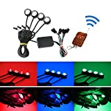 iJDMTOY   4pcs Multi Color RGB LED Eagle Eye Light Kit w  Remote Control For Motorcycle or Bike Ground Effect Underbody Lighting