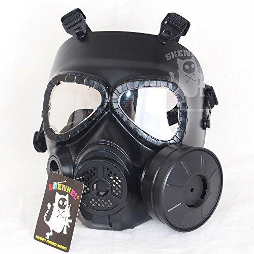 メガネと併用可 M04 ガスマスク型 ファン付 フェイスゴーグル フェイスマスク BK
