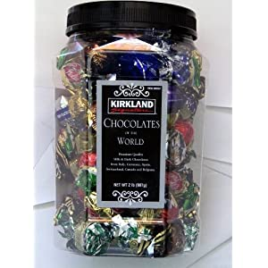 KIRKLAND Signature PREMIUM CHOCOLATES of the WORLD ASSORTMENT JAR NET WT 2 Lb