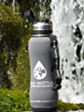 NEW 2015 Eco Stainless filter water bottle 750ml/ 1600 litre with 'Storm Grey' insulator protector