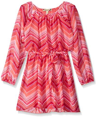 Speechless Big Girls' Chiffon Chevron Blouson Dress, Coral Pink, 8