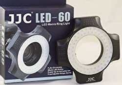 JJC 60 LED Macro Photography Ring Light with Lens Adapter Fr Nikon Canon Sony Pentax Sigma Tamron