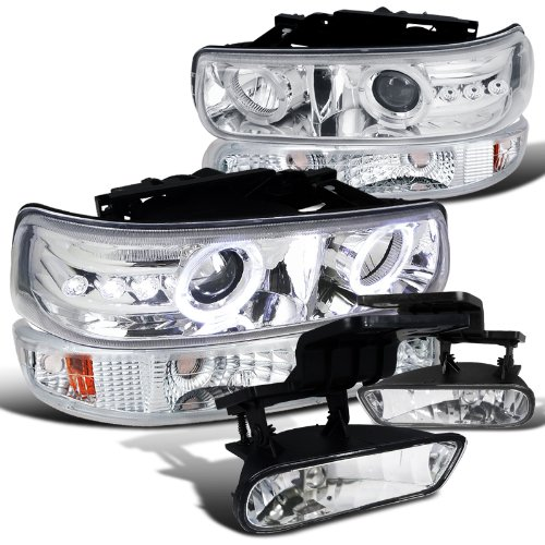 Chevy Silverado Chrome Led Halo Projector Headlights+Bumper Lights+Fog Lamps