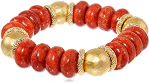 Deborah Grivas Designs Red Sponge Coral Roundel and Gold Ice Pearl Stretch Bracelet, 8