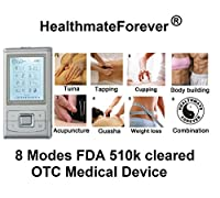 HealthmateForever Hands-Free Tens Electronic Pulse Massager Unit for Electrotherapy Pain Management, such powerful like the one in the chiropractor's office - Light & Portable as small as pocket size. Includes Two Awesome Free Bonuses! Free Extra Tens Uni