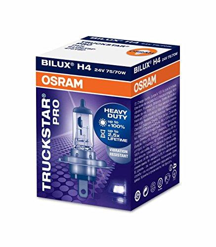 OSRAM TRUCKSTAR PRO H4 Lampada alogena per proiettori 64196TSP +100% , resistenza alle vibrazioni Confezione singola