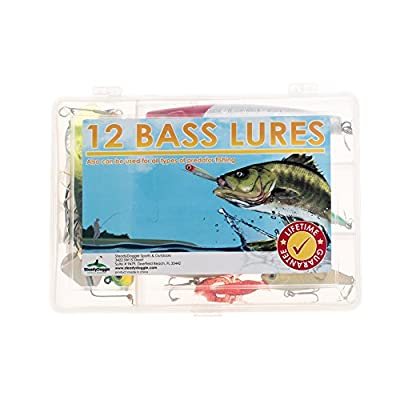 Fishing Lures Set of 12 Bass Fishing Lures Striped Bass Walleye Trout Crappie Muskie Pike Salmon all Predator Lures Freshwater Saltwater Deep Water Cheap Prices Wholesale Fishing Lures in Tackle Box