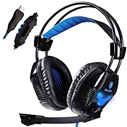 Sades A30 Professional 7.1 Surround Sound USB Stereo Gaming Headset Headphone with Mic Lightweight Design for PC Game LOL WCG