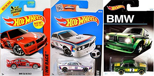 Hot Wheels BMW Exclusive 2016 Car model 2002 BMW + M3 Series E36 Red & '73 3.0 CSL Race New Model White car Set (Bmw Models compare prices)