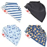 Zippy Fun Bandana Bibs for Baby Boys and Toddlers (Stylish Blues Pack of 4)