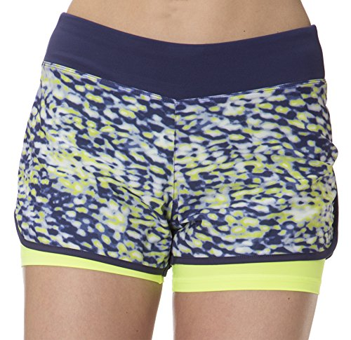 (L1W993) Layer 8 Womens Print Performance Shorts with Compression Second Layer in Peri Night Size: L Dye Volleyball Spandex