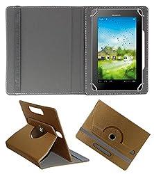 Acm Designer Rotating 360° Leather Flip Case For Huawei Mediapad 7 Lite Tablet Stand Premium Cover Golden
