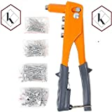 40 Piece Pop Rivets Gun Set, Hand Repair Tool Rivet Gun Set - 40 Rivets - Blind Rivet Handed Gun - Heavy Duty Automatic Mandrel Ejection - 4 Rivet Heads - Head Wrench - By Katzco