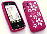 FLASH SUPERSTORE LG GS290 COOKIE FRESH LCD SCREEN PROTECTOR AND SILICON CASE/COVER/SKIN FLORAL HOT PINK