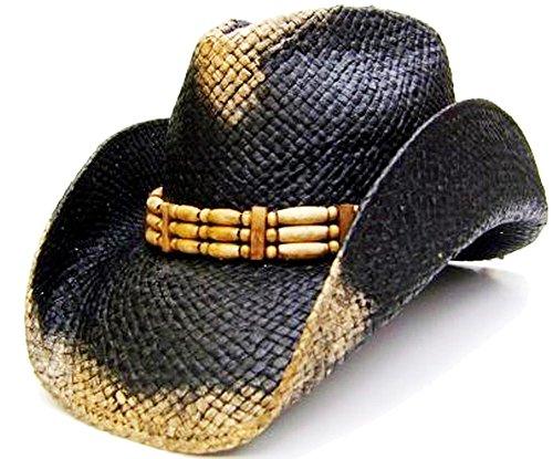 modestone-mens-weathered-look-straw-chapeaux-cowboy-xl-black-beige
