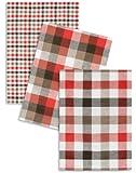 3-er Pack Jacquard Geschirrtuch, Halbleinen, TRIOLINO®, Karo sortiert, rot-braun, 50x70cm