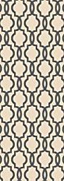 Custom Size Ivory Fancy Moroccan Trellis Rubber Backed Non-Slip Hallway Stair Runner Rug Carpet 31 inch Wide Choose Your Length 31in X 5ft