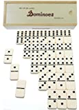 Dominoes Jumbo Tournament Off-White color with Black Pips _ Double Six Set of 28 _With Brass Spinners