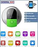 GENERAL AUX® CAMBELL WIRELESS WIFI P2P CAMERA SMART DOOR BELL WITH CHIME & MOTION DETECTION & TWO WAY TALK FUNCTION VIDEO DOOR PHONE ANSWER DOOR CALLS FROM YOUR MOBILE, ANYWHERE ANYTIME HD SUPPORT ANDROID IOS