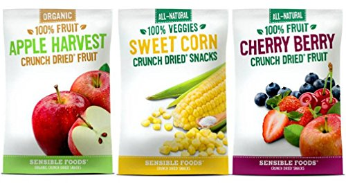 Sensible Foods All-Natural Gluten Free Vegan Non-GMO Crunch Dried Snacks Large Bag 3 Flavor Variety Bundle: (1) Apple Harvest Fruit, (1) Sweet Corn, and (1) Cherry Berry Fruit, 1.3 Oz. Ea. (3 Bags) (Fruit Crunch compare prices)