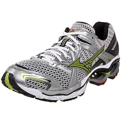 Mizuno Men's Wave Creation 11 Running Shoe,White/Lime Punch/Black,8.5 D
