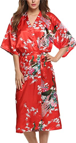 Avidlove Women's Robes Peacock and Blossoms Kimono Silk Nightwear Long Style (L = US M, Style1--Red (FBA))