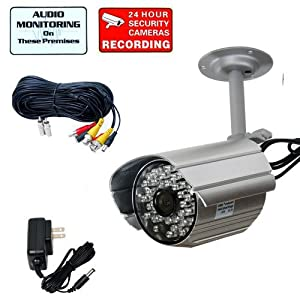 VideoSecu Audio Video Outdoor Day Night Vision IR Infrared Bullet Security Camera Home CCTV Surveillance with Power Supply and Audio Video Power Cable WF4