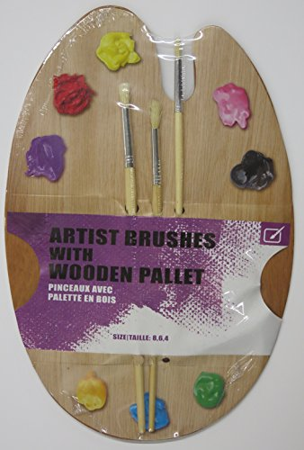 wooden artist paint palette with 3 brushes