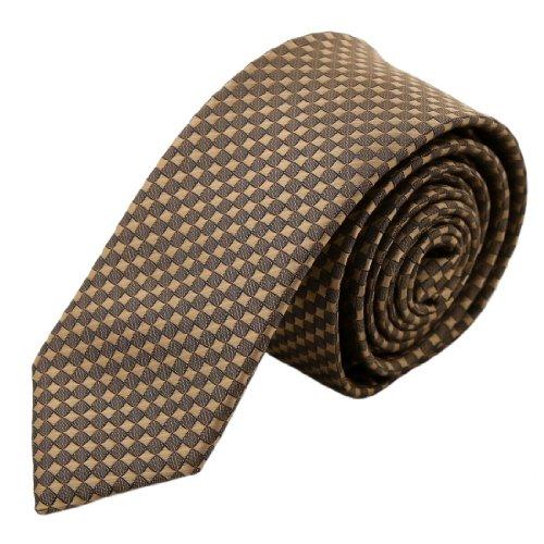 Brown Checkered Slim Necktie Matching Present Box Set Brown Valentines Day Ps1054 One Size Brown