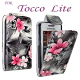 FOR SAMSUNG TOCCO LITE S5230 PINK ROSE PRINT ON BLACK LEATHER FLIP CASE COVER POUCH