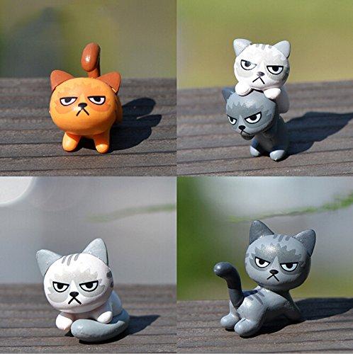 怒っている 猫 の 庭 置物 飾り ミニチュアハンド 不幸な 猫 妖精 ガーデン の 魚 タンク 動物 像 樹脂 クラフト TNA003