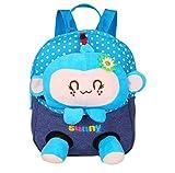Scheppend Abnehmbarer Puppe Rucksack für 1-3 Jahr alt Baby Mädchen Jungen (Neu Himmelblau Affe)