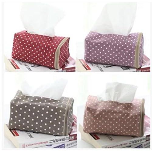 4色 水玉 ティッシュ ボックス カバー インテリア 雑貨 カー用品 (ブラウン)