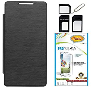 Tidel Black Durable Premium Flip Cover Case For Asus ZenFone 5 With Tidel 2.5D Curved Tempered Glass & Micro /Nano SIM Adapter