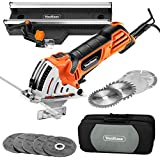 VonHaus Mini Handheld Circular Miter Saw with Angled Cross Cut Guide - 500W Motor - 3 Cutting Blade Sizes, 5pc Resin Cutting Disc Set