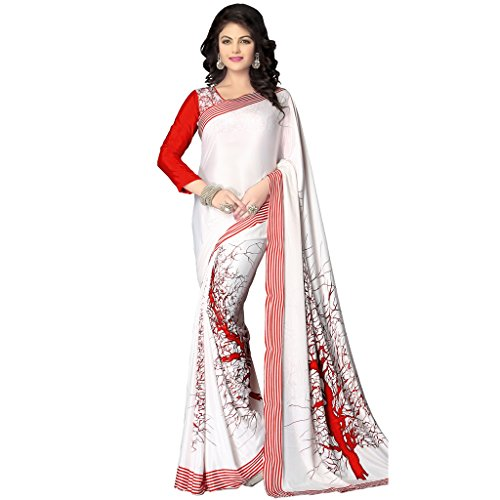 Arzu Fashion Women's Printed Italian Crepe Silk Saree with Blouse Piece(White and Red)