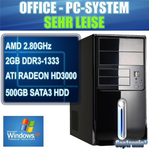 Captronic® Windows XP Professional SP3 (Lizenz + Datenträger) | Silent PC AMD Sempron 145 2.8GHz | 2GB DDR3-1333 | 24x DVD-Brenner | 500GB HDD SATA3 (6Gb/s) | MSI 760GM-P23 (FX) | ATI Radeon HD 3000 1GB VGA/DVI | CardReader | 7.1 Sound | GigabitLAN | Design Gehäuse Piano Schwarz