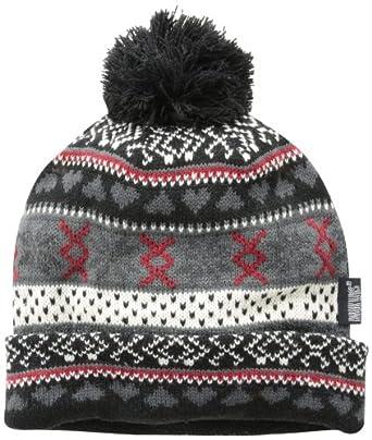 Muk Luks Women's Knit Cuff Beanie Hat with Pom, Ebony/Vanilla, One Size