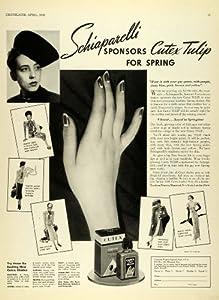 1938 Ad Northam Warren Limited Cutex Tulips Polish Nails Design E. Schiaparelli - Original Print Ad