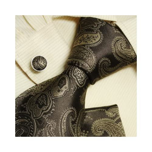 H5128 Brown Paisleys Business Gift For Thanksgiving Day Silk Ties Cufflinks Hanky Set 3PT By Y&G