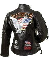 Diamond PlateTM Genuine Leather Rock Design Ladies Jacket - Large