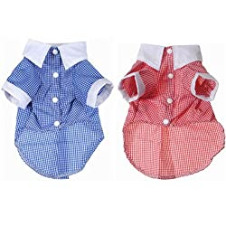 Pet Dog Cat Clothes White Cuff Collar Plaid Costume