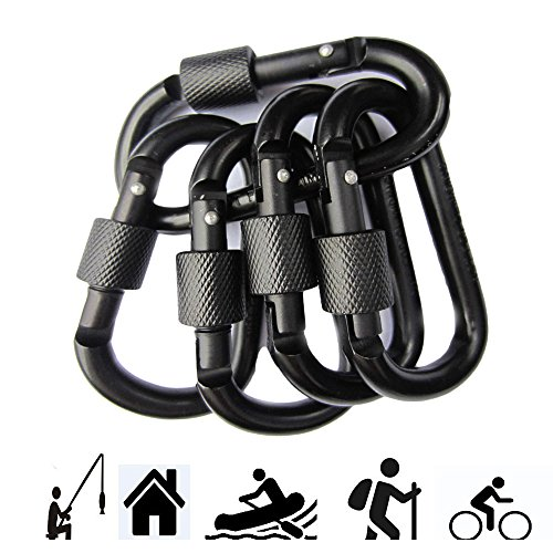 Ma Fang Aluminum Locking Carabiner Spring Clips Outdoor keychain Lock d Ring Hooks 6pcs